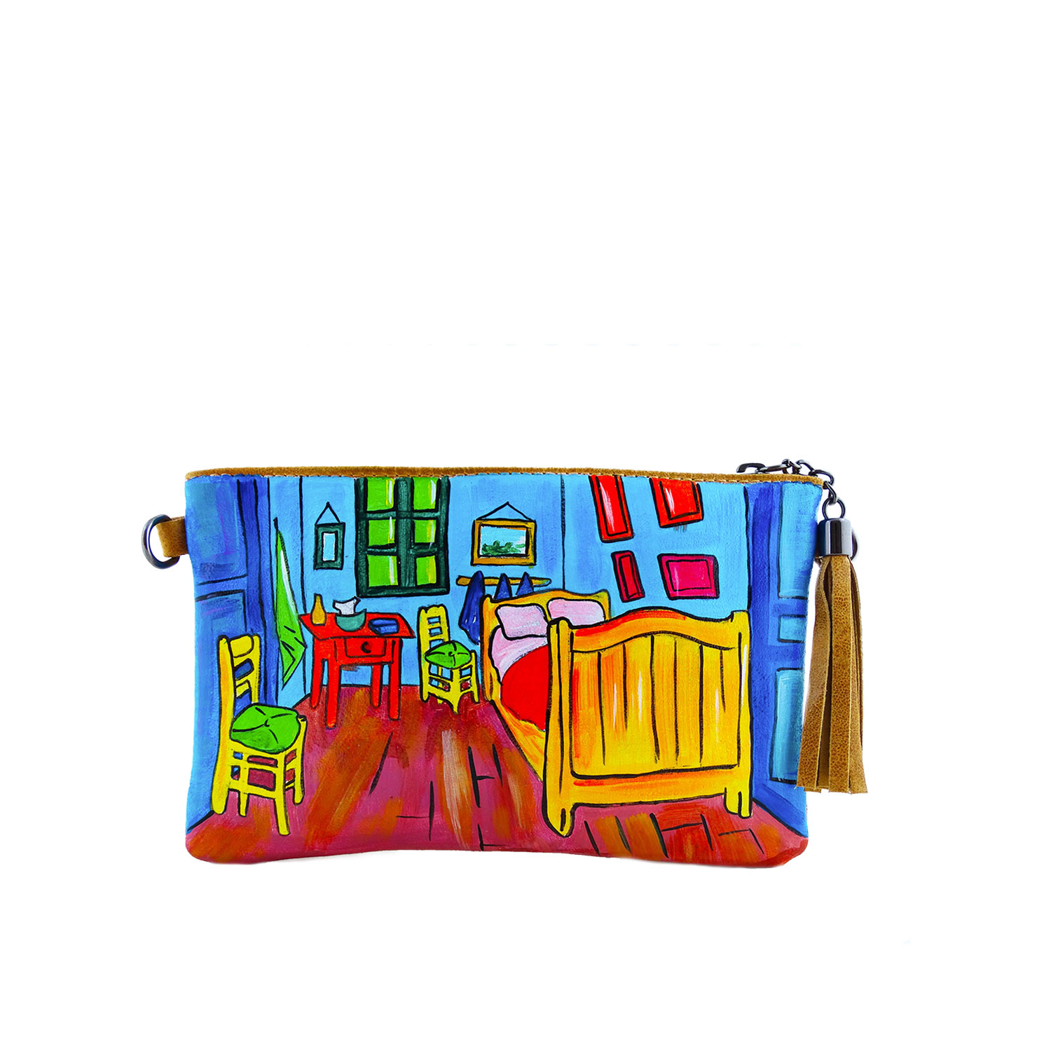 Hand-painted bag pochette - The room by Van Gogh
