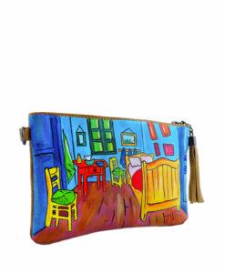 Pochette in pelle dipinta a mano - La stanza di Van Gogh