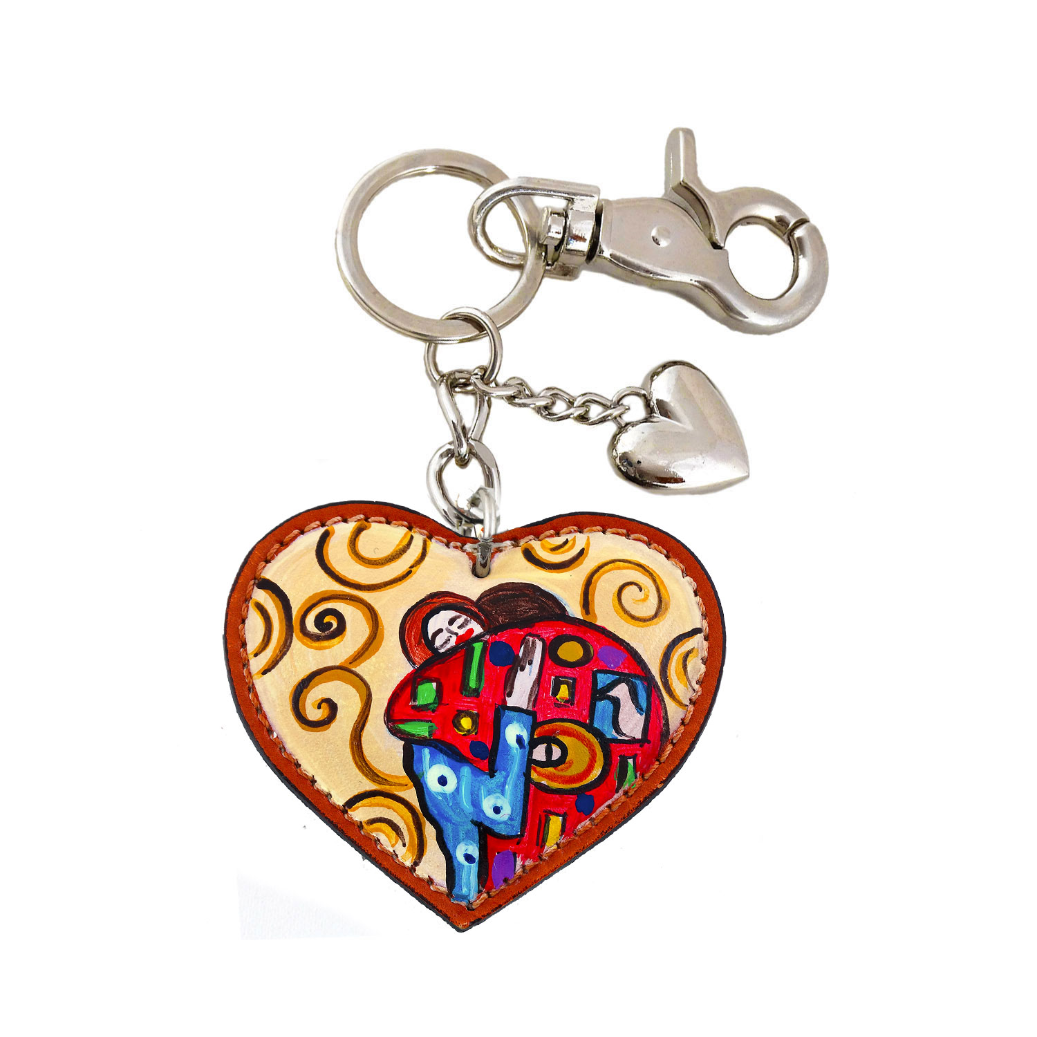 Hand painted keyring - The embrace by Klimt