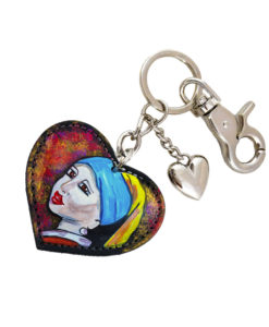 Hand painted keychain - Girl with a Pearl Earring by Vermeer