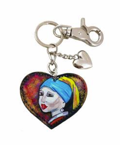 Portachiavi dipinto a mano – Ragazza con l'orecchino di Perla di Vermeer