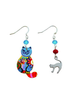 Hand-painted earrings - Multicolored kitten