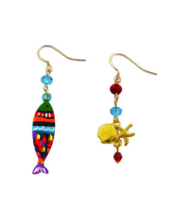 Hand-painted earrings - Multicolor fish