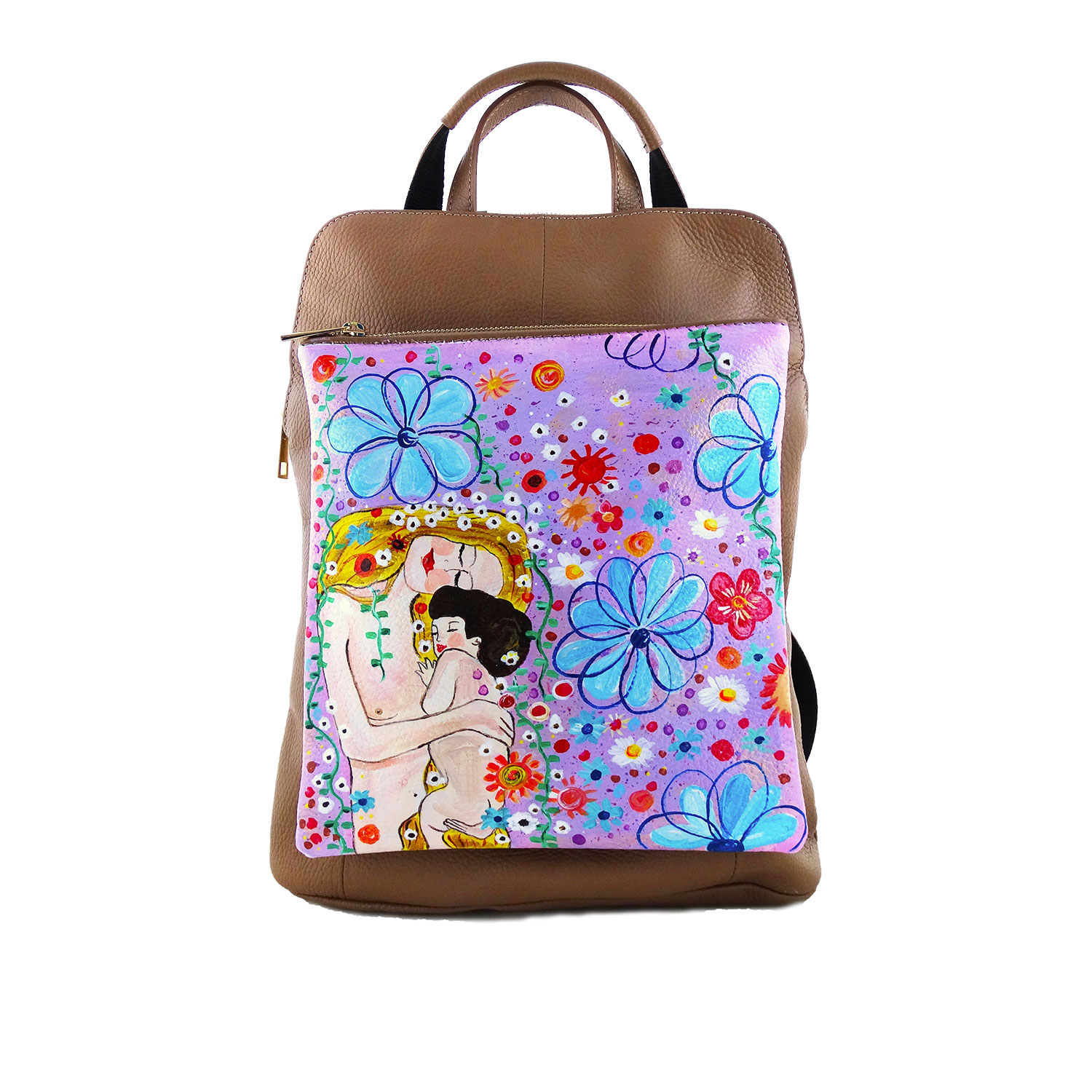 Hand-painted backpack bag - Mother and son by Gustav Klimt