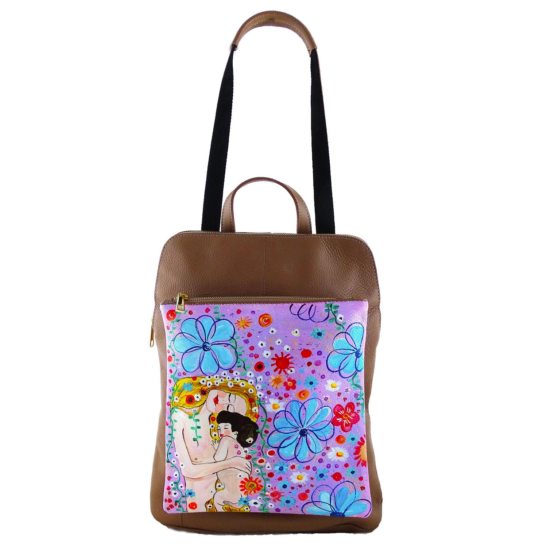 Borsa zaino dipinta a mano – Madre e figlio di Klimt