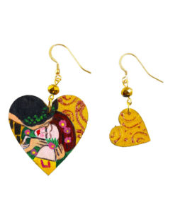 Hand painted earrings - The Kiss by Gustav Klimt