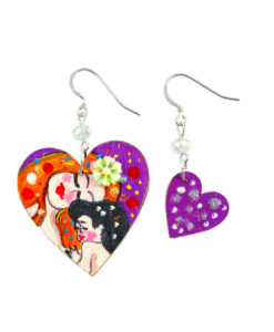 Hand painted earrings - Mother and son by Gustav Klimt