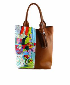 Borsa dipinta a mano - Interno con ragazza che legge di Matisse