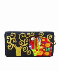 Portafoglio da donna dipinto a mano – L' abbraccio di Klimt