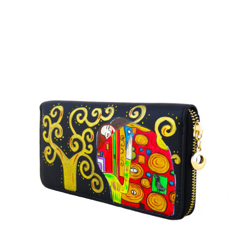 Hand painted wallet - The embrace by Klimt