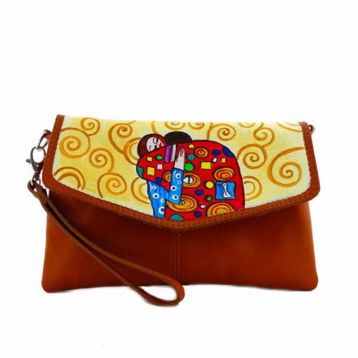Borsa pochette in pelle dipinta a mano – L' abbraccio di Klimt