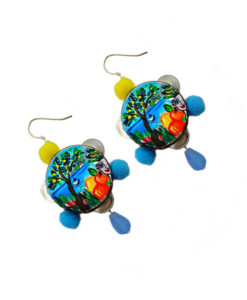 Hand-painted earrings - Tambourines heart of Sicily