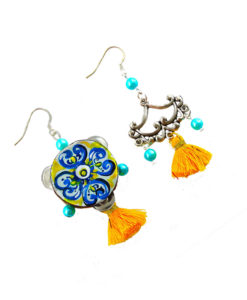 Hand-painted earrings - Tambourine Majolica from Sicily