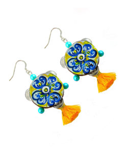 Hand-painted earrings - Tambourines Majolica from Sicily