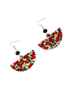 Hand-painted earrings - Fan red flowers