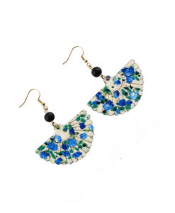 Hand-painted earrings - Fan blue flowers