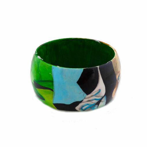 Bracciale dipinto a mano – Ragazza in verde di De Lempicka