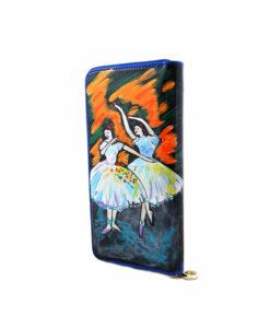 Portafoglio in pelle dipinto a mano – Le ballerine di Degas