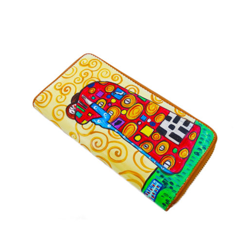 Portafoglio dipinto a mano – L' abbraccio di Klimt