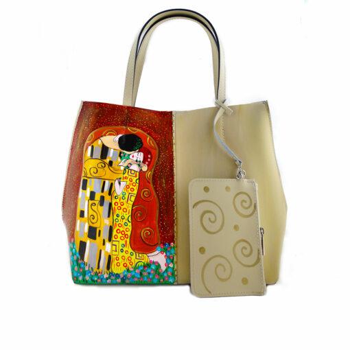 Borsa da donna in pelle dipinta a mano – Il bacio di Klimt
