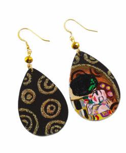 Orecchini dipinti a mano –Il bacio di Klimt