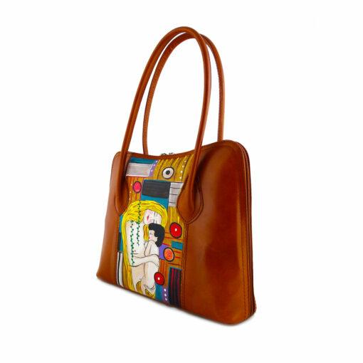 Borsa artigianale dipinta a mano– Madre e figlio di Klimt