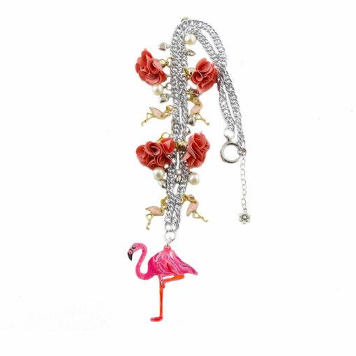 Collana dipinta a mano – Fenicottero rosa