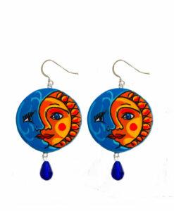 Orecchini dipinti a mano – Sole e luna ceramica Vietrese