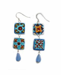 Orecchini dipinti a mano – Maioliche ceramica azzurra Vietri
