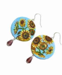Orecchini dipinti a mano – I girasoli di Van Gogh