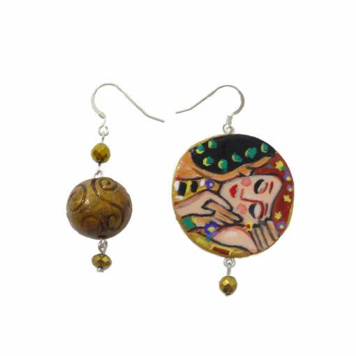 Orecchini in ceramica dipinti a mano – Il bacio di Klimt