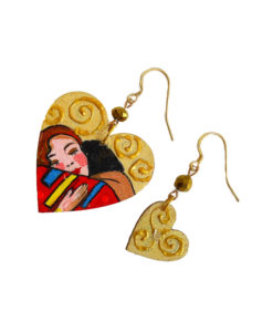 Orecchini dipinti a mano - L'abbraccio di Klimt