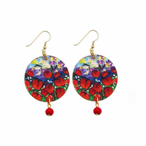 Orecchini dipinti a mano – Tulipani rossi
