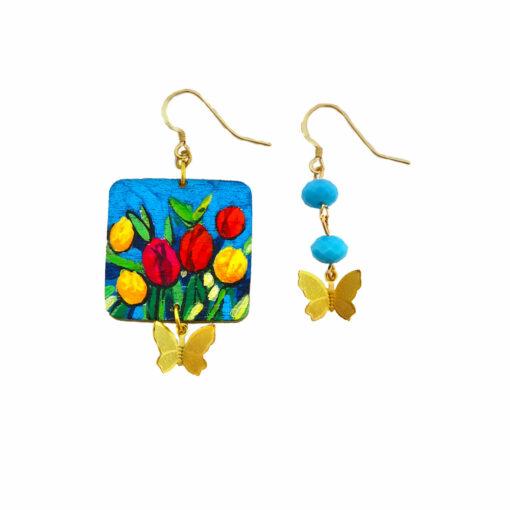 Orecchini dipinti a mano – Tulipani colorati