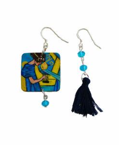 Orecchini dipinti a mano – La musica di Klimt