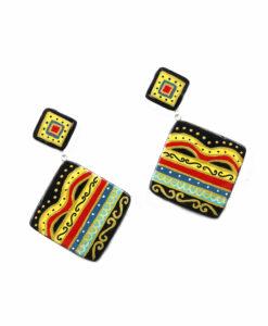 Orecchini dipinti a mano – Maioliche astratti ceramica di Vietri