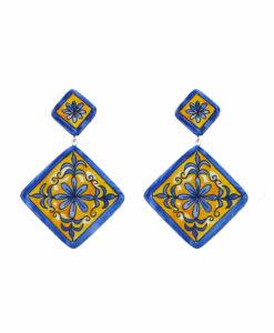 Orecchini in ceramica dipinti a mano – Maioliche a rombo ceramica di Vietri