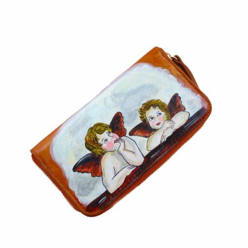 Portafoglio in pelle dipinto a mano – Cherubini di Raffaello Sanzio