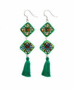 Orecchini dipinti a mano – Maioliche ceramica verde Vietri