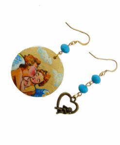 Orecchini dipinti a mano – Amore e Psiche bambini di Bouguereau