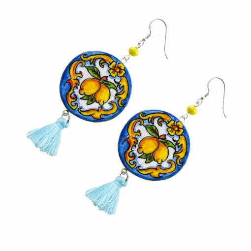 Orecchini dipinti a mano – Ceramica di Vietri limoni