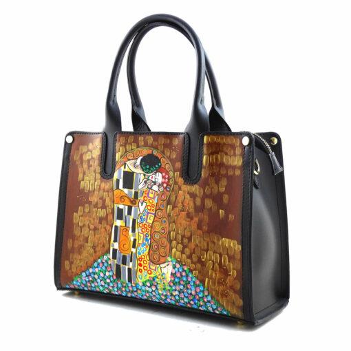 Borsa in pelle dipinta a mano – Il bacio di Klimt