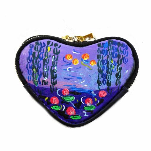 Portamonete dipinto a mano - Stagno di ninfee e salice di Monet