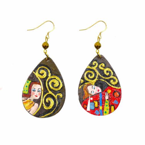 Orecchini dipinto a mano - L' albero della vita Klimt