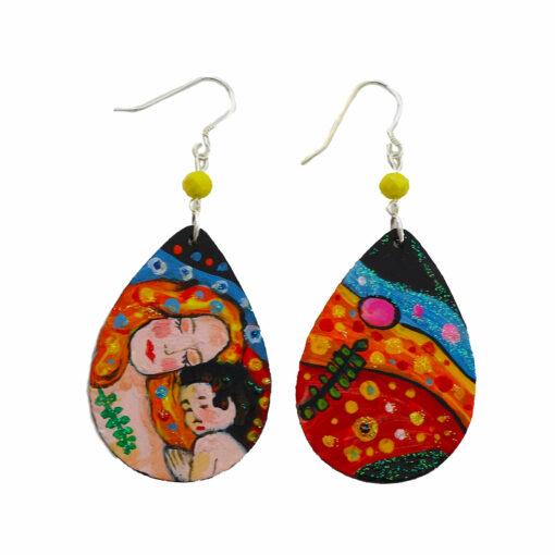 Orecchini dipinto a mano - Madre e figlio di Gustav Klimt