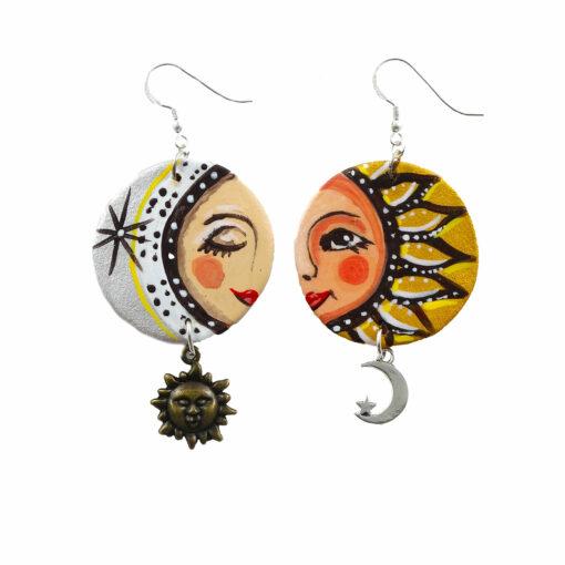 Orecchini in ceramica dipinta a mano – Sole e luna ceramica
