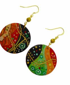 Orecchini dipinti a mano – Bisce d' acqua di Klimt