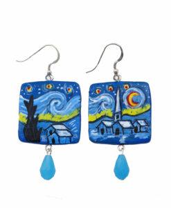 Orecchini in ceramica dipinta a mano – La notte stellata di Van Gogh