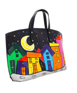 Borsa dipinta a mano – Cartoon City Night
