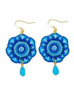 Orecchini dipinti a mano –Mandala azzurro